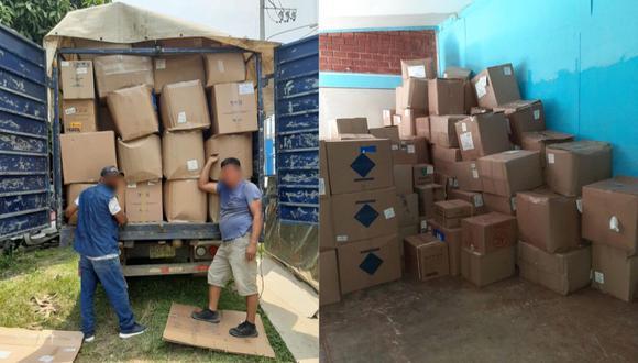 Un avión del la Fuerza Aérea del Perú (FAP) trasladó desde el Callao, los más de 1,438 kilogramos de ayuda contra el COVID-19 (Foto: EsSalud)