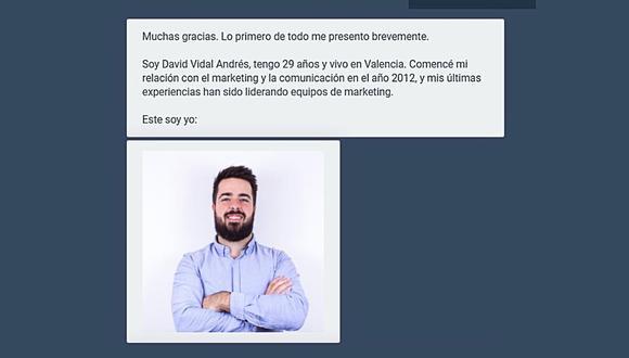 David Vidal ha conseguido 300 entrevistas de trabajo en una semana gracias al uso de una herramienta virtual, que además es gratuita. (Foto: landbot.io)