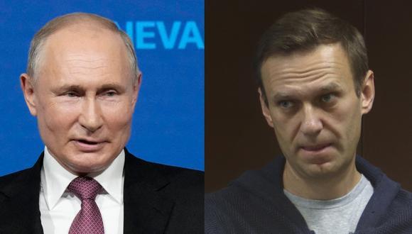 Imagen del presidente de Rusia, Vladimir Putin, y el opositor encarcelado Alexei Navalny. (AFP).