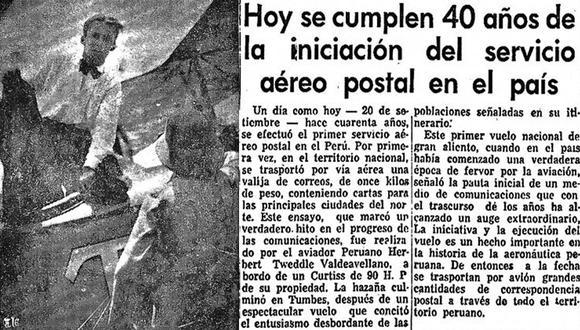 Nota de El Comercio publicada en 1960, al cumplirse los 40 años del primer vuelo con cargamento postal realizado en el Perú por el aviador nacional Herbert Tweddle. (Foto: GEC Archivo Histórico)
