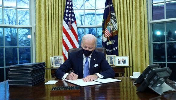 El presidente de Estados Unidos, Joe Biden, en la Oficina Oval. REUTERS