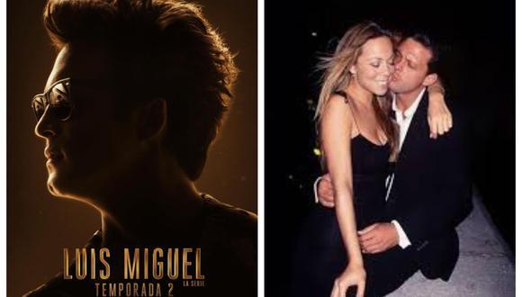 A la izquierda puede verse el afiche de la segunda temporada de la serie. Y, a la derecha, una foto del verdadero Luis Miguel junto a un antiguo amor, la cantante Mariah Carey. Son fuertes los rumores que esta historia será abordada en el show. (Foto: Netflix/ Archivo)