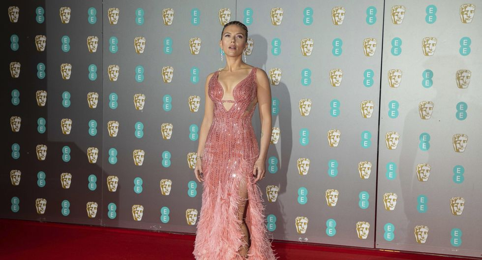Actress Scarlett Johansson poses for photographers upon arrival at the Bafta Film Awards, in central London, Sunday, Feb. 2 2020. (Photo by Vianney Le Caer/Invision/AP)