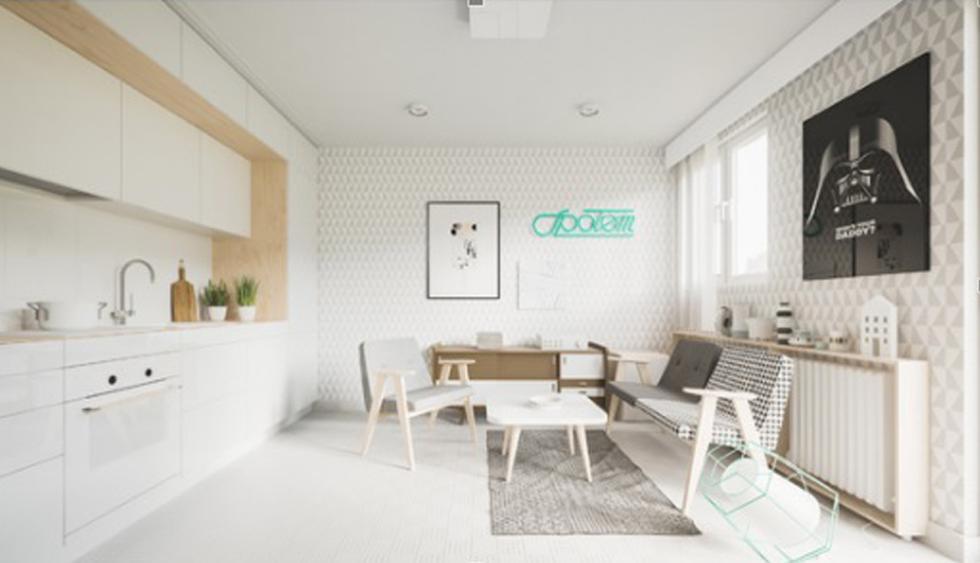 Sí, el color blanco te ayudará a crear ambientes que luzcan más espaciosos y luminosos. Aquí, sin embargo, se optó por un papel tapiz blanco con una interesante trama que se combina con el gris claro. (Foto: Piotr Matuszek)