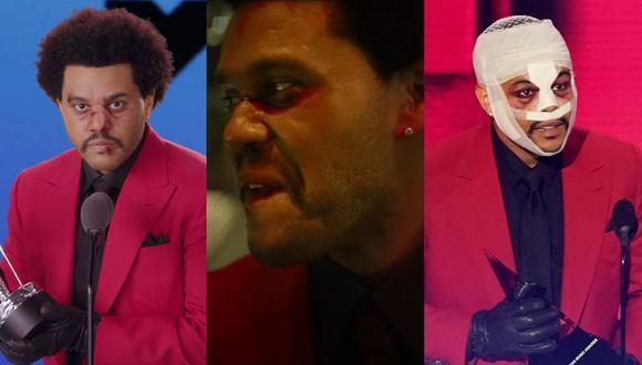 """American Music Awards. En los extremos, The Weeknd en los MTV VMA y AMAs 2020. al centro, en el videoclip de """"Blinding Lights"""". Fotos: AFP/ UMG/ AP."""