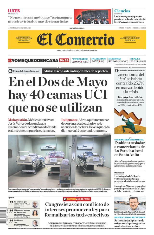 Portada del 13 de mayo, en la que El Comercio denunció que habían 40 camas UCI sin usar.