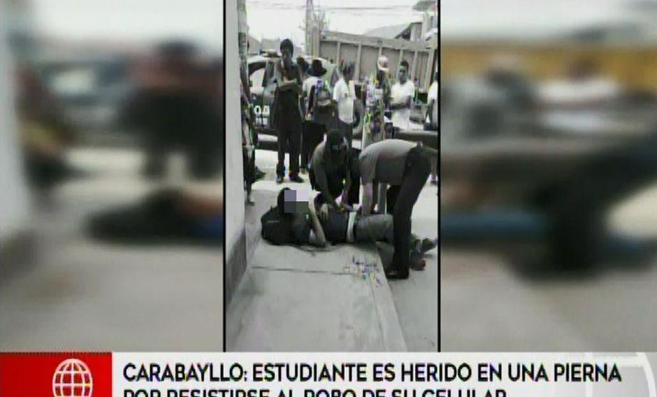 Estudiante resultó con una herida de bala en la pierna porque se resistió al robo de su celular (Captura: América Noticias)