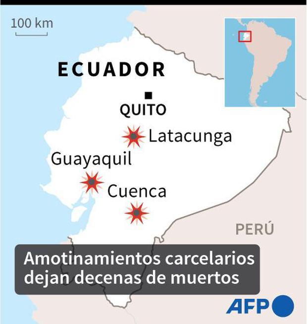 Los lugares de Ecuador donde ocurrieron los motines. (AFP).