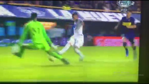 Esteban Andrada evitó el primer gol del Boca Juniors vs. Vélez en el marco de los cuartos de final de la Copa de la Superliga argentina (Foto: captura de pantalla)