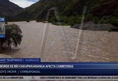 Desborde del río Chaupihuaranga destruye vía que une Huánuco-Pasco y Lima