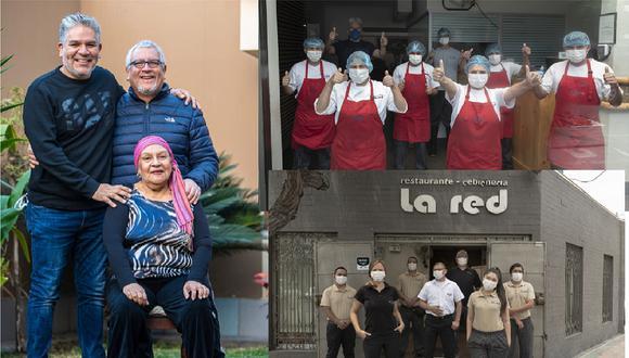 La familia creció en 40 años: José Del Castillo, Juan Del Castillo y doña Isolina Vargas Reyes en una imagen antes de la cuarentena. Con la camiseta bien puesta, sus equipos de cocina y de salón salen adelante en los tiempos más críticos. (Fotos: archivo personal / Renzo Salazar, GEC)