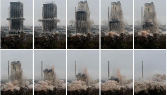 Alemania: Baten récord al demoler un edificio de 116 metros