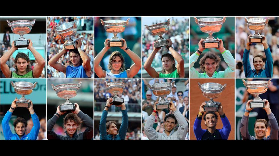 Uno a uno los doce títulos en Roland Garros de Rafael Nadal. (Foto: AFP)