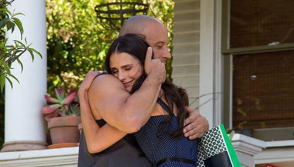"""Vin Diesel y Jordana Brewster en una escena de """"Rápidos y Furiosos 7""""."""