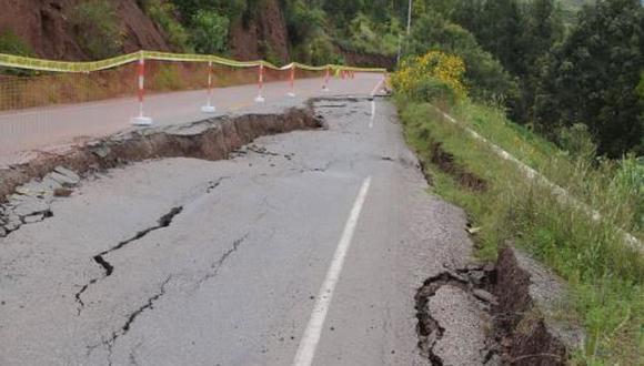 Cierran vía Cusco-Valle Sagrado debido a daños por lluvias