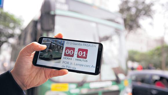 El Comercio probó la app en la Av. Nicolás de Piérola (Cercado). La plataforma indicó la ubicación y el tiempo exacto de llegada del Urbanito. (Alonso Chero)