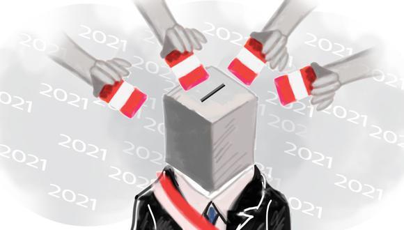 Los peruanos elegirán en el 2021 al próximo presidente de la República y a los siguientes representantes en el Congreso. (Ilustración: Luis Huaitan / El Comercio)
