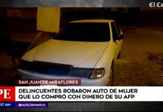SJM: mujer denuncia el robo de auto que compró con dinero retirado de AFP