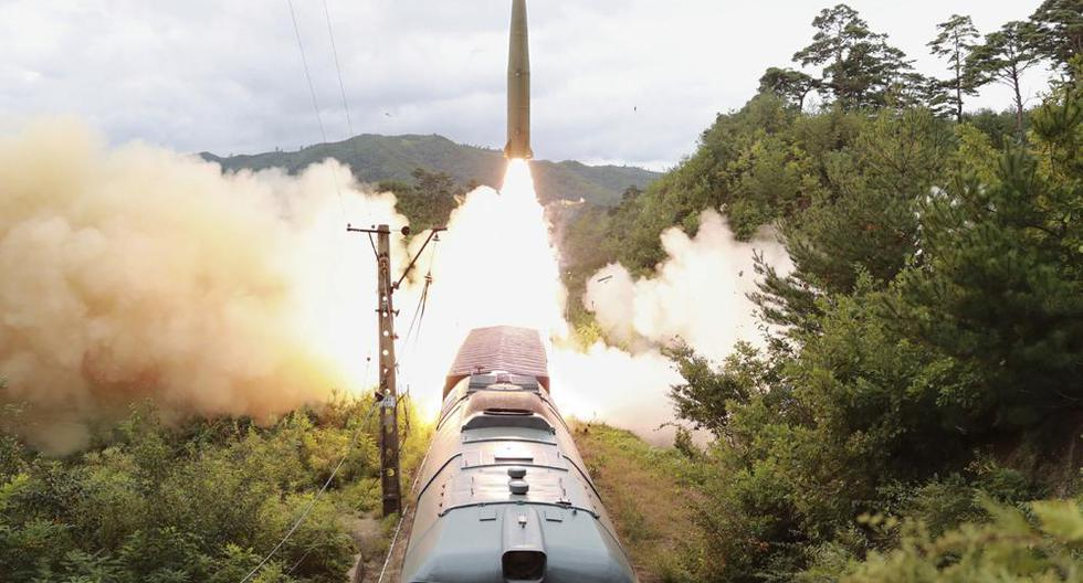 North Korea launched ballistic missiles from a train for the first time