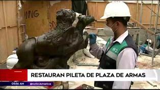 Centro de Lima: restauran pileta y balcones de la Plaza de Armas