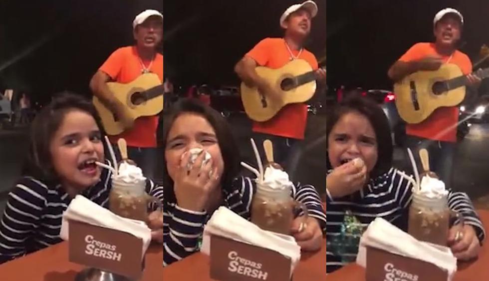 En Facebook, el video de una niña, que no aguanta la risa mientras come helado por escuchar a un hombre como pésimo músico, se volvió viral. Así reaccionaron los usuarios de las redes sociales. (Foto: Captura)