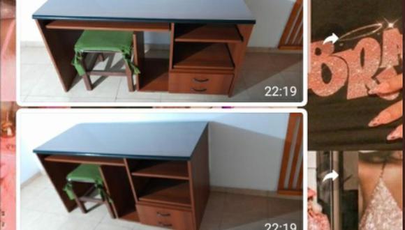 Para que su nieta pueda estudiar en su casa, un abuelo decidió 'alquilarle' un escritorio. (Foto: @ro_limina / Twitter)