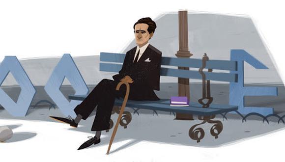La imagen muestra el doodle elaborado por los 120 años del nacimiento del poeta peruano César Vallejo. (Imagen: Difusión)