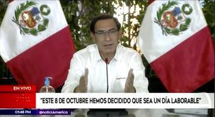 Presidente Vizcarra anuncia que el 8 de octubre será día laborable