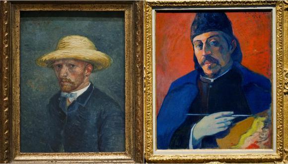 Hasta que la vida los separe. De izquierda a derecha, utorretratos de Vincent Van Gogh y Paul Gauguin, quienes fueron amigos... por un tiempo. Fotos: AFP.