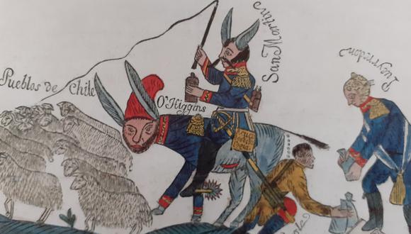 San Martín arrea a los pueblos de Chile (1818).  Junto al libertador, el caricaturista incluye a próceres O'Higgins, Torre Tagle y Pueyrredón. (FOTO: Ramón Mujica)