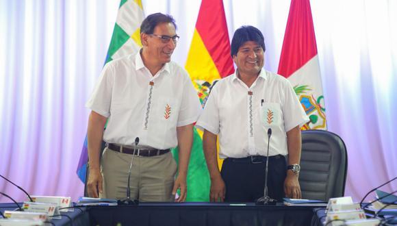 Martín Vizcarra y Evo Morales en el Encuentro Binacional de Perú y Bolivia que se realizó hace unos meses. (Foto: Presidencia)