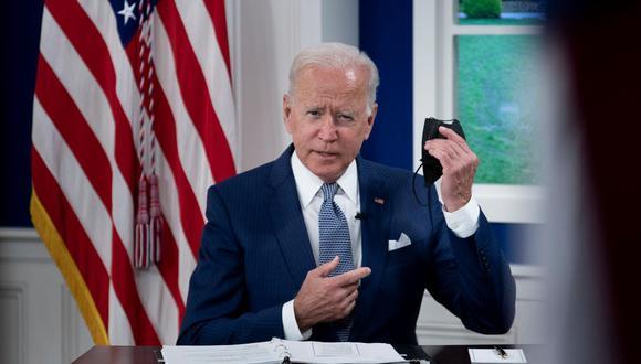 El presidente de Estados Unidos, Joe Biden, durante una cumbre virtual sobre el coronavirus al margen de la Asamblea General de la ONU, el 22 de septiembre de 2021. (Brendan Smialowski / AFP).