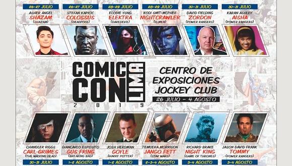 Esta es la lista de artistas confirmados que aparecerán en esta edición de la Comic Con Lima 2019. | Cortesía