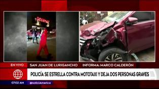 SJL: Policía impacta contra mototaxi y deja tres personas heridas