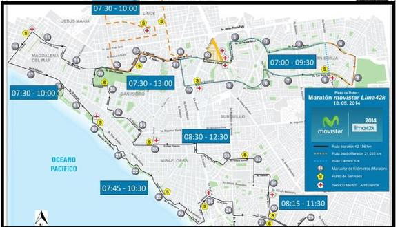 Maratón Lima 42K: esta es la ruta de la carrera de hoy