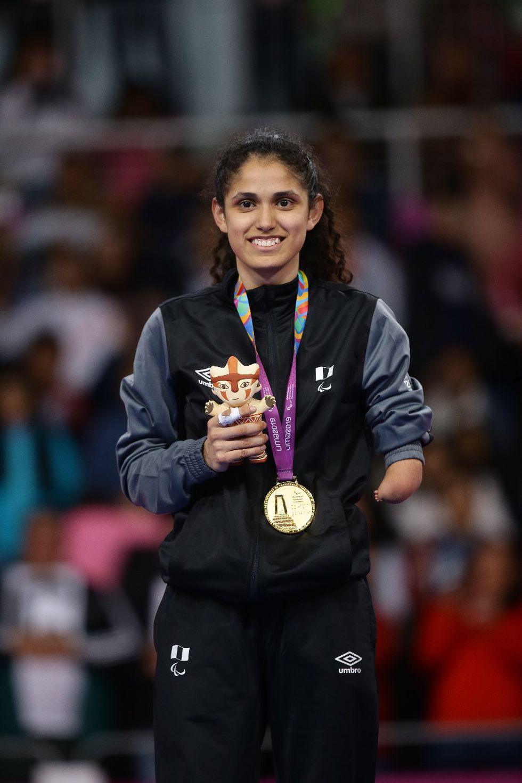 La abanderada peruana Angélica Espinoza logró el tercer oro peruano en estos Parapanamericanos y la delegación ya suma tres preseas doradas. (Foto: Jesús Saucedo)