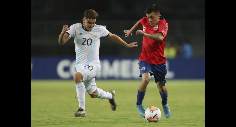 Argentina vs. Chile: las mejores postales del triunfo 'Albiceleste' y la desazón de la 'Rojita' por el Preolímpico Sub 23 Colombia 2020. (Foto: AFP)