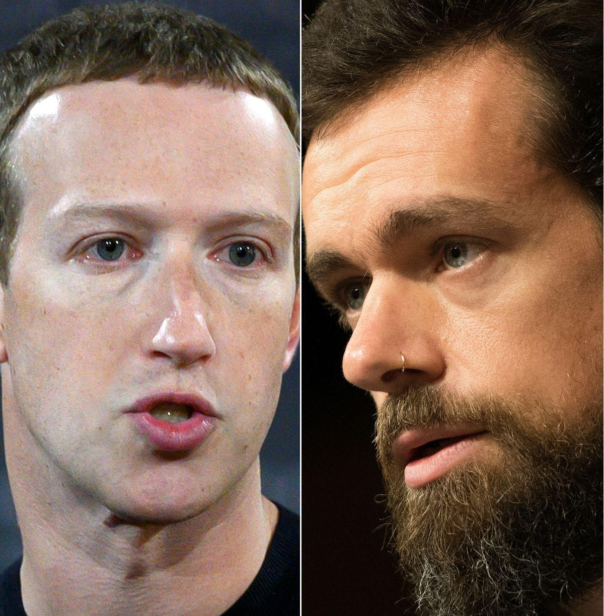 El CEO de Facebook, Mark Zuckerberg y el de Twitter, Jack Dorsey. (Fotos: ANDREW CABALLERO-REYNOLDS y Jim WATSON / AFP).