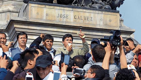 Pedro Castillo y los dirigentes huelguistas anunciaron el levantamiento de su medida de fuerza, pero amenazaron con volver a las calles si hay represalias. (Foto: El Comercio / Jessica Vicente)