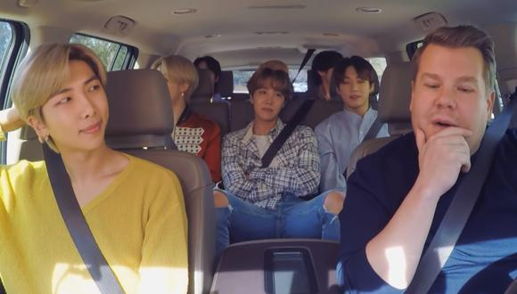 "BTS en el ""Carpool Karaoke"" de James Corden. (Foto: Captura)"
