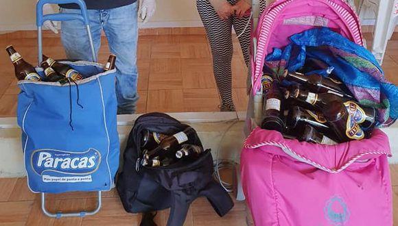 Ayacucho. Pareja repartía cerveza a delivery en coche de bebé y en carrito de compras. (PNP)