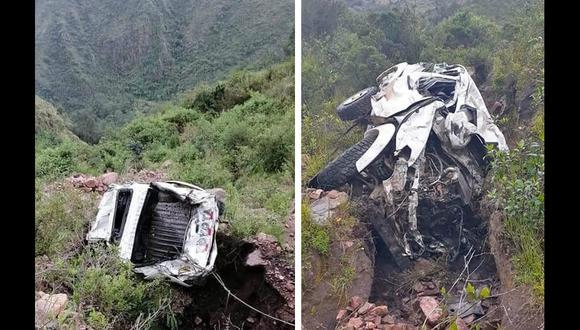 Camioneta quedó destrozada tras caer a un abismo en Apurímac.