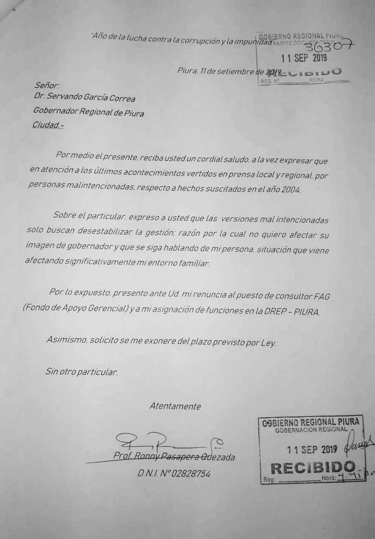 El GORE Piura acepta la carta de renuncia de Pasapera.