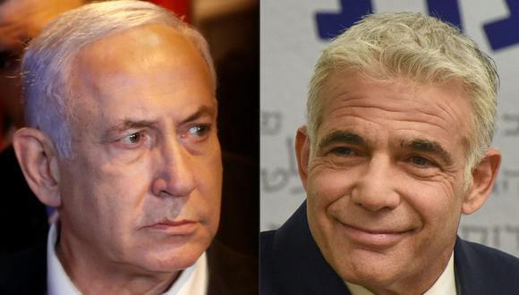 Esta combinación de imágenes creadas el 2 de junio de 2021 muestra al primer ministro israelí Benjamin Netanyahu y al líder de la oposición centrista de Israel Yair Lapid. (Fotos de Ahmad GHARABLI y DEBBIE HILL / AFP).