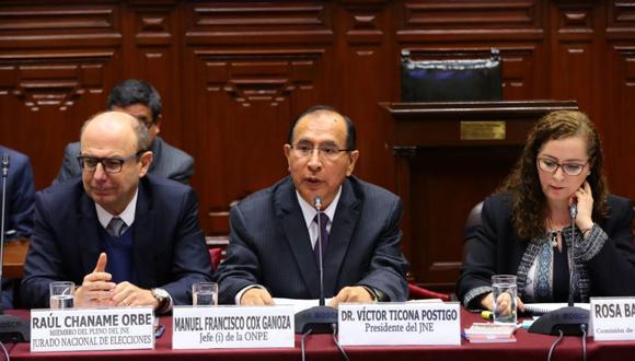 Presidente del JNE, Víctor Ticona, expone ante la Comisión de Constitución sobre proyecto de adelanto de elecciones (Foto: Congreso)