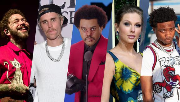 American Music Awards 2020. De izquierda a derecha, Post Malone, Justin Bieber, The Weeknd, Taylor Swift y Roddy Ricch; nominados a Mejor artista del año en los AMAs. Fotos: AFP.