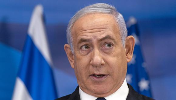 El primer ministro israelí, Benjamin Netanyahu, habla durante una conferencia de prensa conjunta con el secretario de Estado de Estados Unidos, Antony Blinken, en Jerusalén el 25 de mayo de 2021. (Foto de Alex Brandon / POOL / AFP).