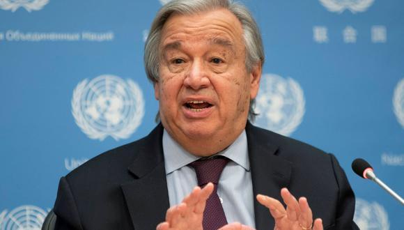 El secretario general de las Naciones Unidas, Antonio Guterres, habla durante una conferencia de prensa en la sede de la ONU en la ciudad de Nueva York. (Reuters/Eduardo Muñoz).