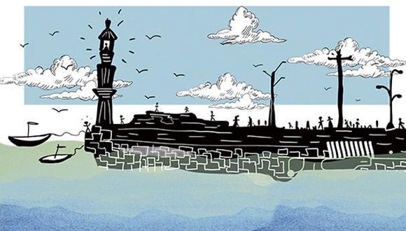 """""""Un puerto marítimo, de lagos o ríos, puede ser una explanada de comercios y restaurantes que además se convierte en espacio social y generador de empleos"""". (Ilustración: Giovanni Tazza)"""