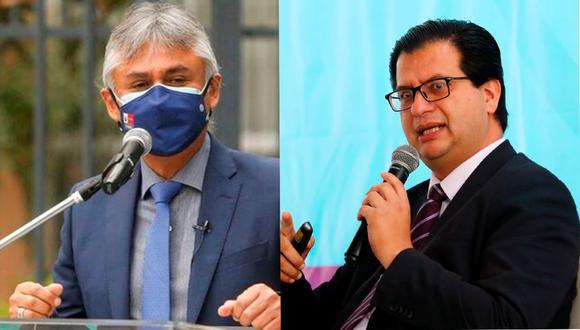 Bernardo Ostos (con mascarilla) y Gustavo Rosell continuarán liderando los viceministerios de Prestaciones y Aseguramiento en Salud y de Salud Pública, respectivamente. (Foto: archivo )